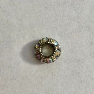 Crystal Studded Circle Silver Charm